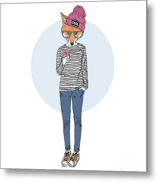 Fox Teen Girl Dressed Up In Urban Style Metal Print