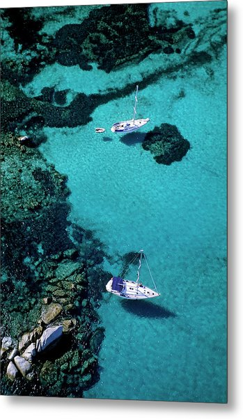 France, Corse Du Sud, Boats Anchored In Metal Print by Rieger Bertrand / Hemis.fr