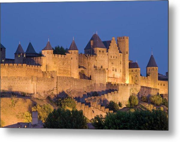France, Languedoc, Carcassonne, Castle Metal Print