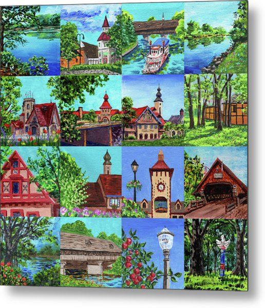Frankenmuth Downtown Michigan Painting Collage I Metal Print