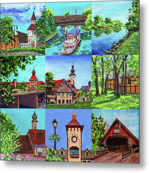 Frankenmuth Downtown Michigan Painting Collage IIi Metal Print