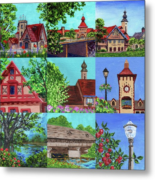Frankenmuth Downtown Michigan Painting Collage V Metal Print