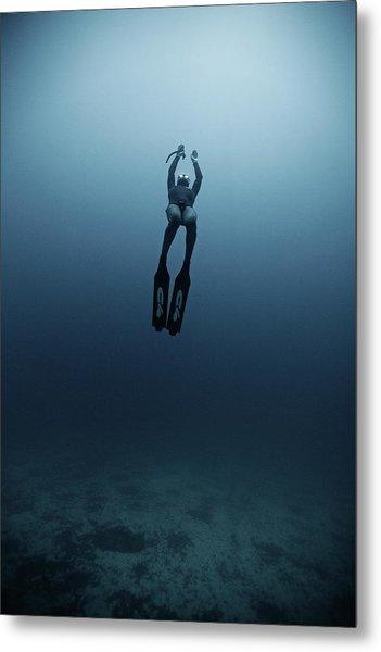 Freediving Metal Print by Underwater Graphics