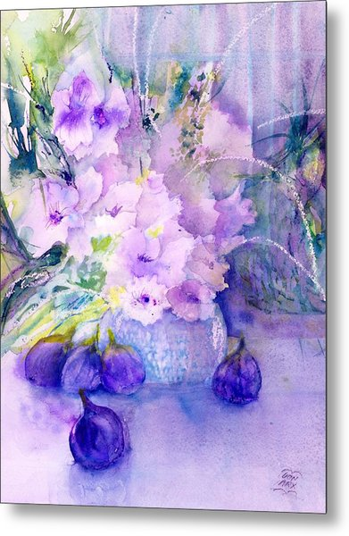 Fresh Figs And Orchids Still Life Metal Print