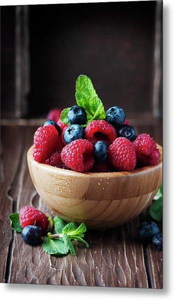 Fresh Sweet Raspberry And Bluberry Metal Print by Oxana Denezhkina