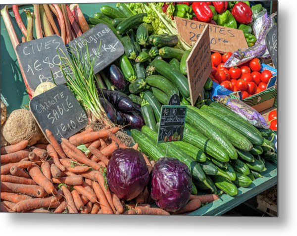 Fresh Vegetable Market, Bayeux Metal Print