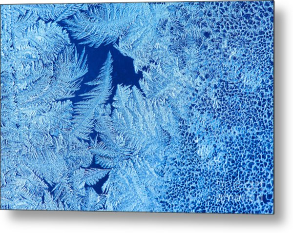 Frost Patterns On Window Glass Metal Print