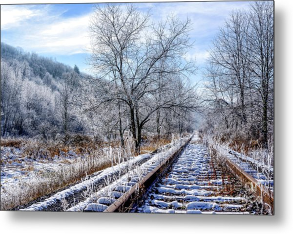 Frosty Morning On The Railroad Metal Print