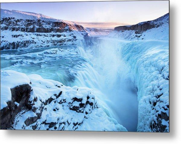 Frozen Gullfoss Falls In Iceland In Metal Print by Sara winter