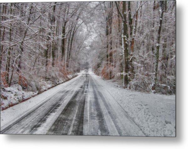 Frozen Road Metal Print