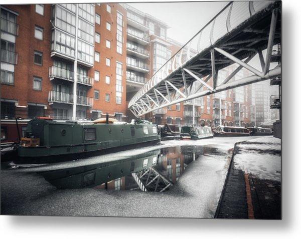 Frozen Sherborne Wharf No 2 Metal Print
