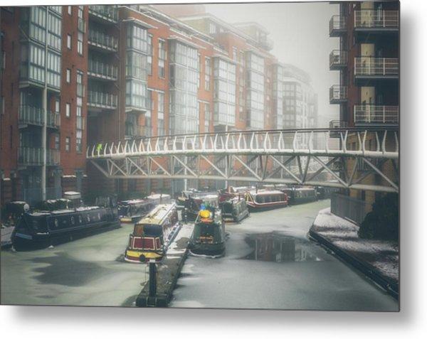 Frozen Sherborne Wharf No 4 Metal Print