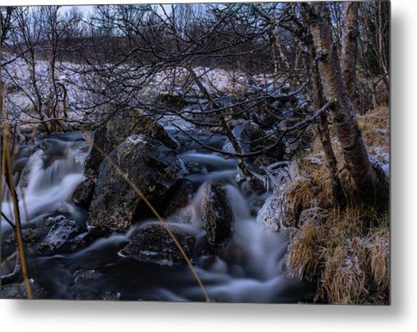 Frozen Stream In Winter Forest Metal Print