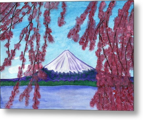 Fuji Mountain And Sakura Metal Print