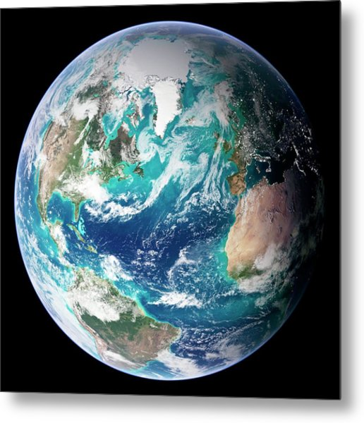 Full Earth, Close-up Metal Print by Science Photo Library - Nasa Earth Observatory