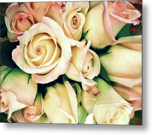 Full Frame Cross Processed Rose Bouquet Metal Print by Travelif