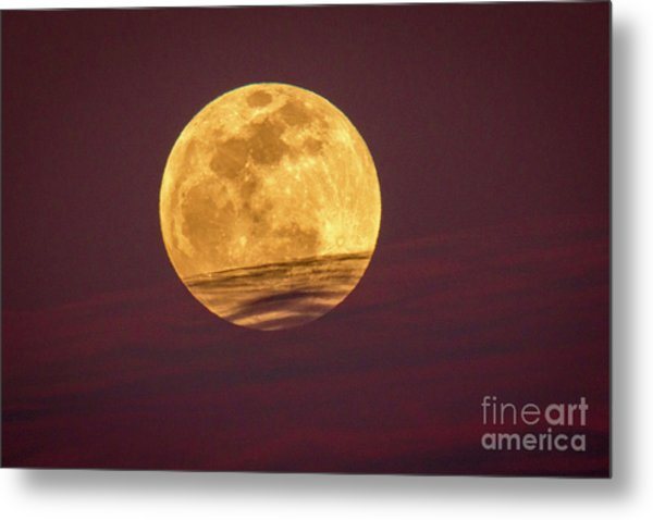 Full Moon Above Clouds Metal Print