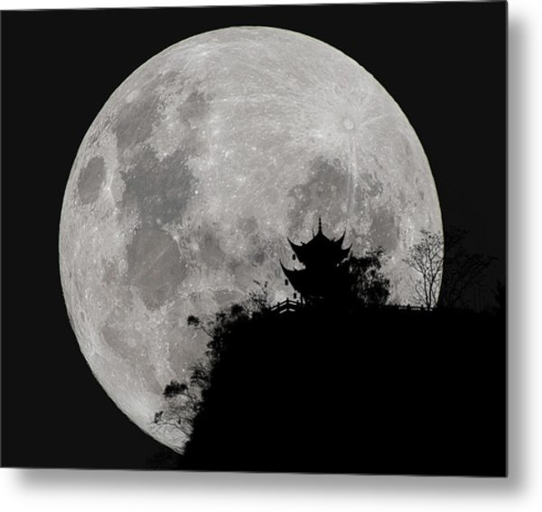Metal Print featuring the photograph Full Moon Behind Clifftop Gazebo In Chengdu China by William Dickman