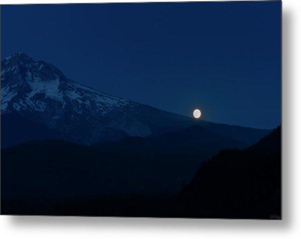 Full Moon On Mt. Hood Flanks Metal Print