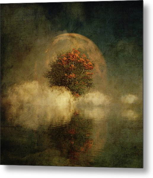 Metal Print featuring the digital art Full Moon Over Misty Water by Jan Keteleer
