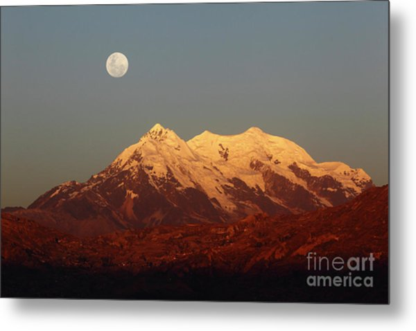 Full Moon Rise Over Mt Illimani Metal Print