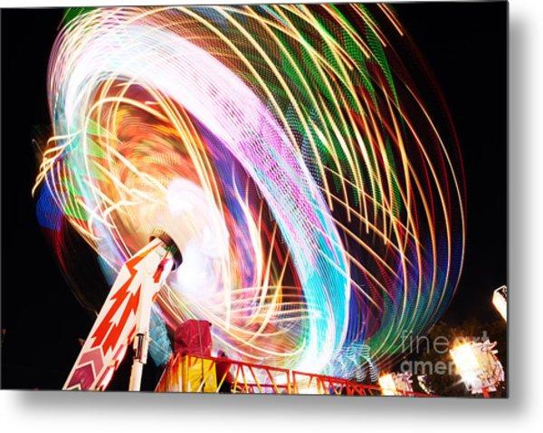 Fun Fair, Long Exposure. Colourful Metal Print