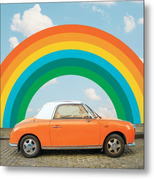 Funky Rainbow Ride Metal Print