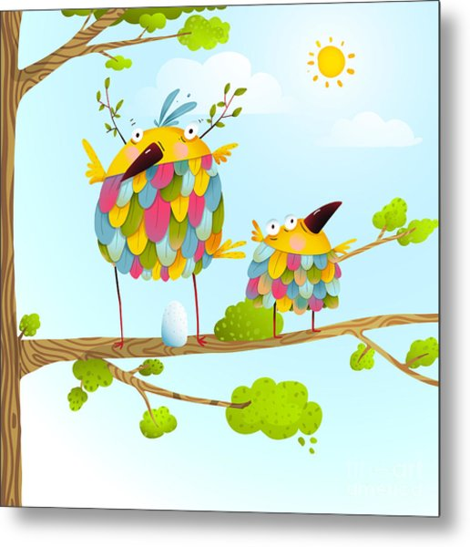Funny Bird On Tree Family Mother And Metal Print