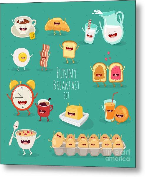 Funny Breakfast Set. Comic Characters Metal Print