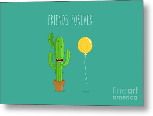 Funny Cactus With Air Balloon. Vector Metal Print