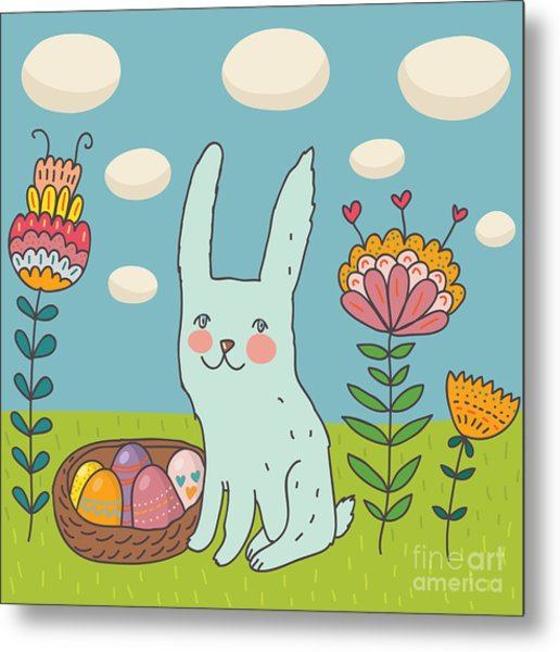 Funny Cartoon Easter Rabbit Metal Print