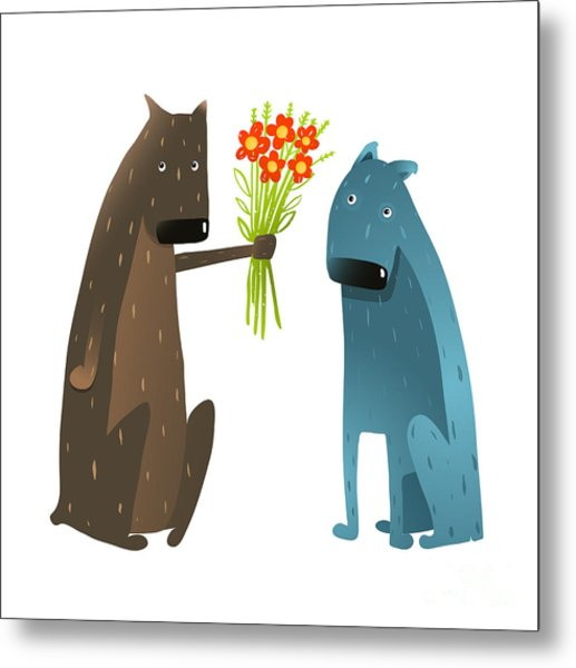 Funny Dog In Love Presenting Flowers To Metal Print