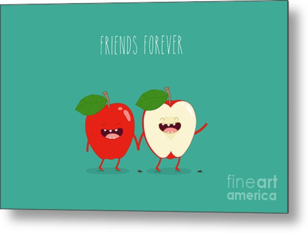 Funny Red Apple. Use For Card, Poster Metal Print