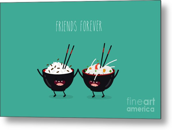 Funny Rice Noodles And Rice In Black Metal Print