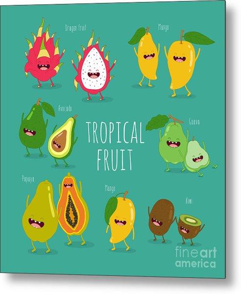 Funny Tropical Fruits. Guava, Papaya Metal Print
