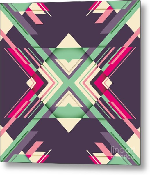 Futuristic Abstraction With Geometric Metal Print