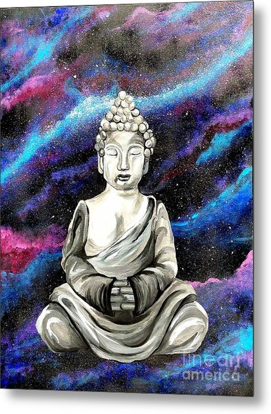 Metal Print featuring the painting Galaxy Buddha  by Jennah Lenae