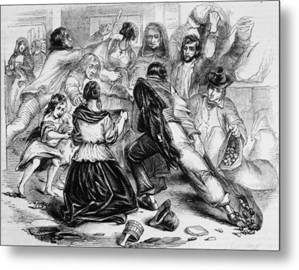 Galway Starvation Riots Metal Print by Illustrated London News