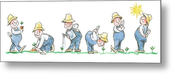Garden Guy Planting Metal Print