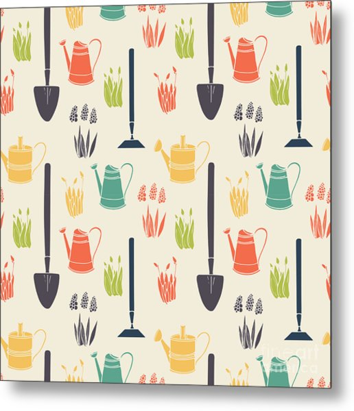 Garden Seamless Pattern Metal Print by Tashanatasha