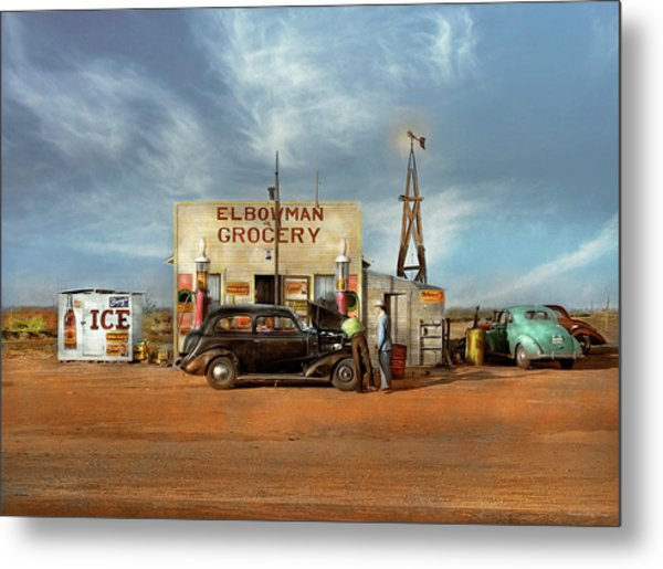 Metal Print featuring the photograph Gas Station - In The Middle Of Nowhere 1940 by Mike Savad