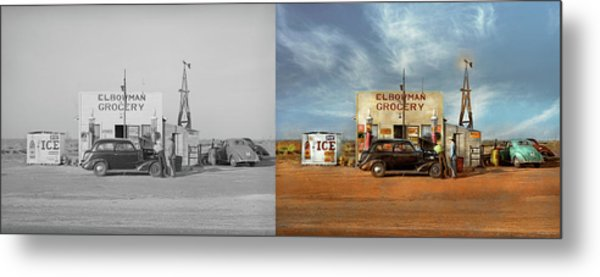 Metal Print featuring the photograph Gas Station - In The Middle Of Nowhere 1940 - Side By Side by Mike Savad