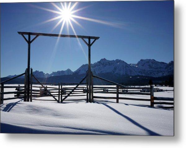 Gate To Ranch Near Stanley, Idaho Metal Print