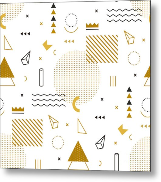 Geometric Gold Pattern For Fashion And Metal Print