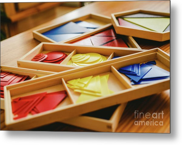 Geometric Material In Montessori Classroom For The Learning Of Children In Mathematics Area. Metal Print