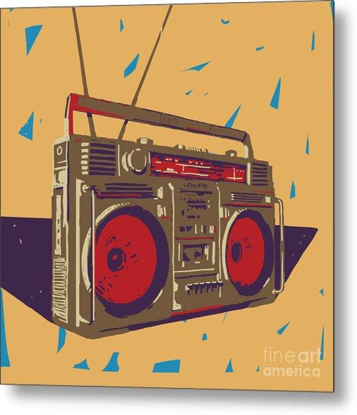 Ghetto Blaster Boombox Graphic Metal Print by Iz Stock Works
