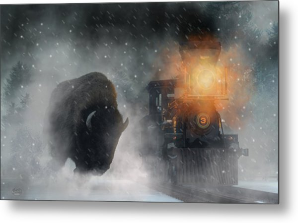 Metal Print featuring the digital art Giant Buffalo Attacking Train by Daniel Eskridge