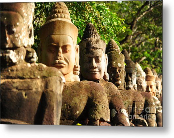 Giants In Front Gate Of Angkor Thom Metal Print