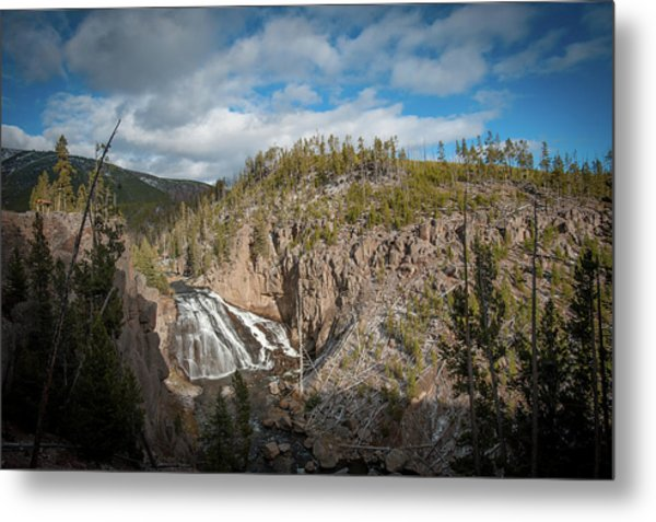 Metal Print featuring the photograph Gibbon Falls In Yellowstone by Mark Duehmig