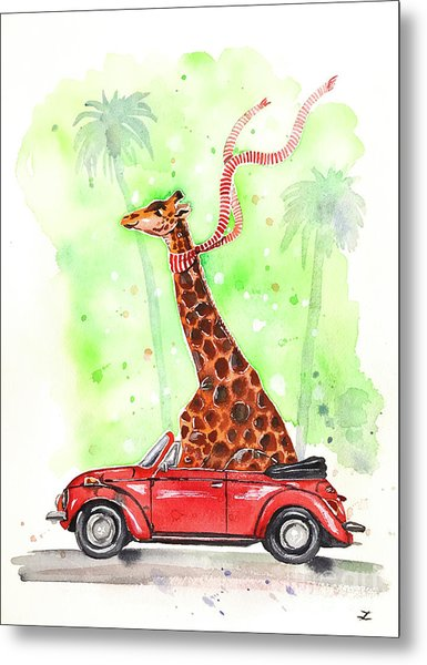 Giraffe In A Beetle Metal Print